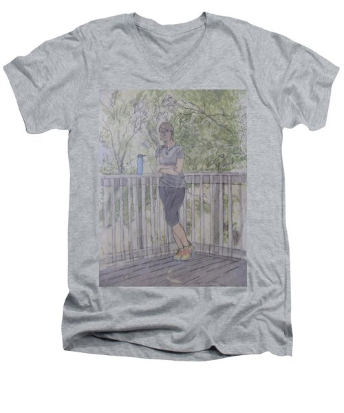 Men's V-Neck T-Shirt featuring the painting Girl At The Mountain Top by Joel Deutsch