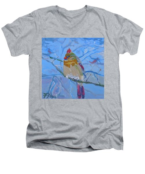 Men's V-Neck T-Shirt featuring the painting Girl Cardinal by Francine Frank