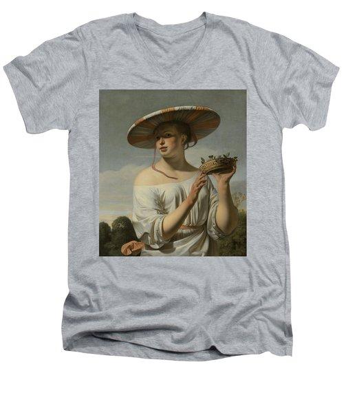 Girl In A Large Hat, C.1645-1650 Men's V-Neck T-Shirt