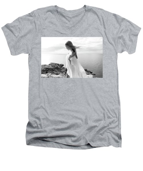 Girl In A White Dress By The Sea Men's V-Neck T-Shirt