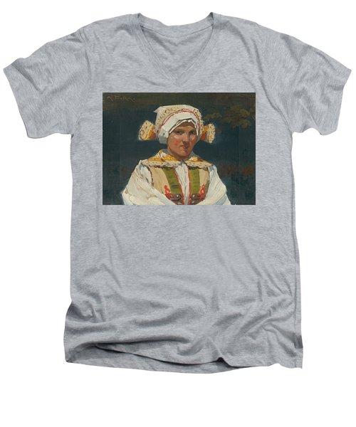 Girl In Costume, Antos Frolka, 1910 Men's V-Neck T-Shirt