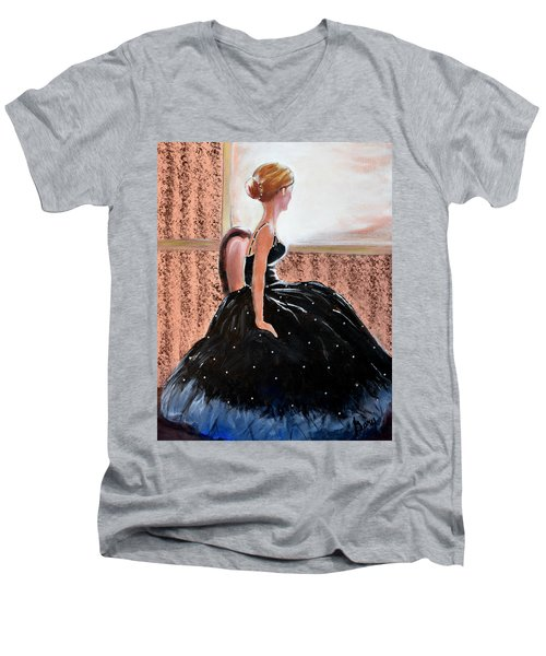 Girl In The Sequin Gown Men's V-Neck T-Shirt by Gary Smith
