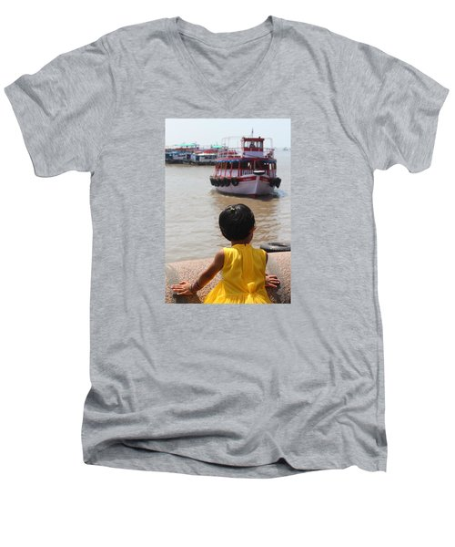 Girl In Yellow Dress W/leaf In Hair Looking At Boats Men's V-Neck T-Shirt by Jennifer Mazzucco