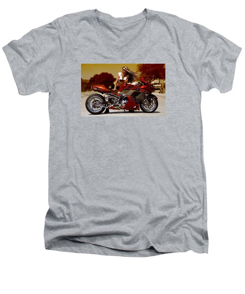 Men's V-Neck T-Shirt featuring the photograph Girl On Fire by Lawrence Christopher