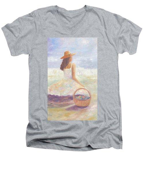 Girl With A Basket Men's V-Neck T-Shirt