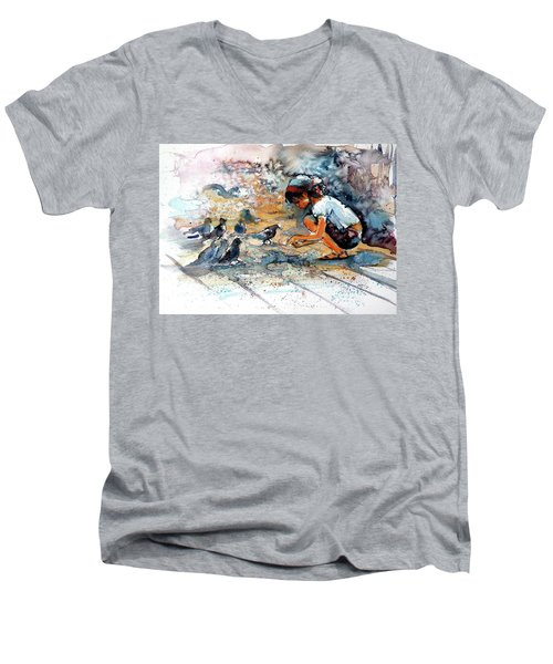 Men's V-Neck T-Shirt featuring the painting Girl With Birds by Kovacs Anna Brigitta