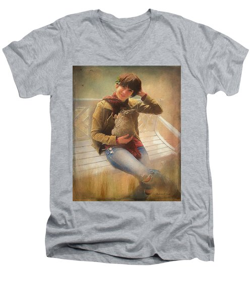 Men's V-Neck T-Shirt featuring the photograph Girl With Rabbit by Bellesouth Studio