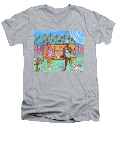 Men's V-Neck T-Shirt featuring the painting Girlfriends' Teatime IIi by Xueling Zou