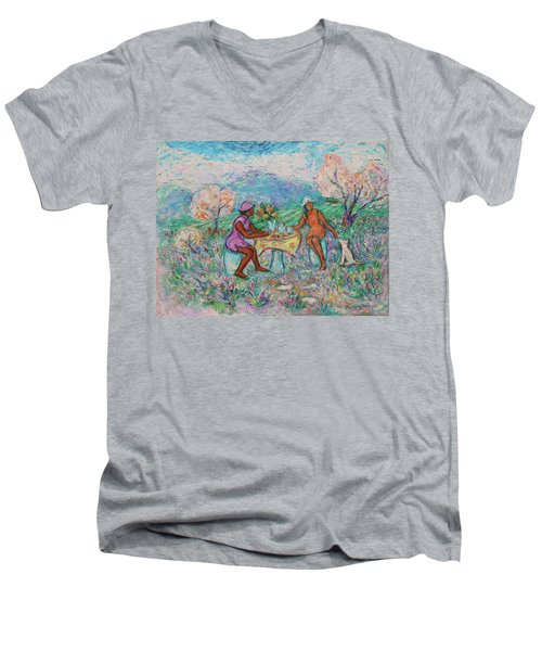 Men's V-Neck T-Shirt featuring the painting Girlfriends' Teatime Iv by Xueling Zou