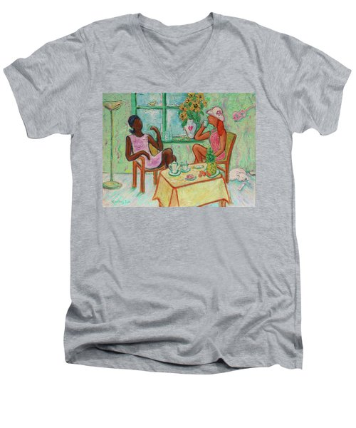 Men's V-Neck T-Shirt featuring the painting Girlfriends' Teatime V by Xueling Zou