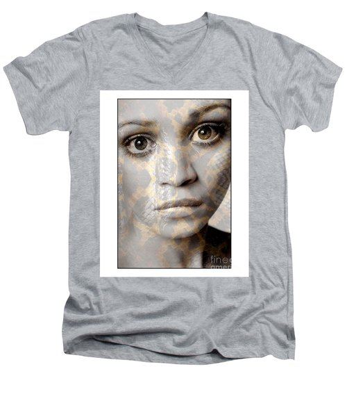 Girls Face With Snake Skin Texture Men's V-Neck T-Shirt by Michael Edwards