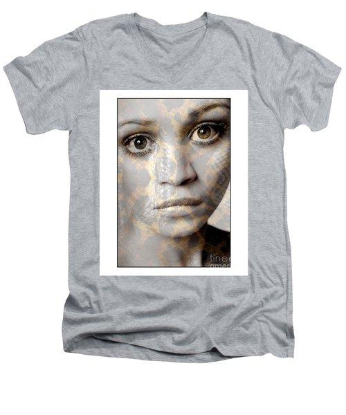 Girls Face With Snake Skin Texture Men's V-Neck T-Shirt