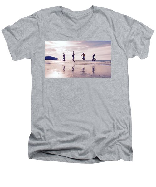 Girls Jumping On Lofoten Beach Men's V-Neck T-Shirt by Tamara Sushko