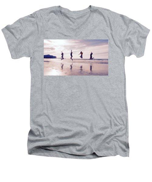 Girls Jumping On Lofoten Beach Men's V-Neck T-Shirt