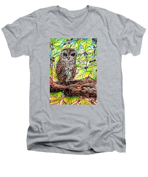 Give A Hoot Men's V-Neck T-Shirt by Patricia L Davidson