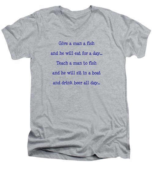 Give A Man A Fish Men's V-Neck T-Shirt