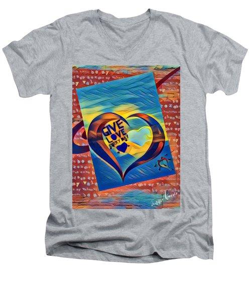 Give Love Men's V-Neck T-Shirt by Vennie Kocsis