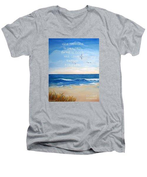 Give Thanks Men's V-Neck T-Shirt by Shelia Kempf