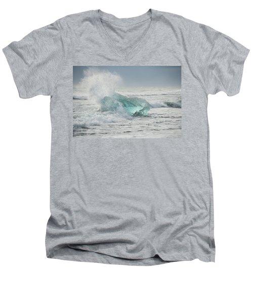 Glacial Iceberg In Beach Surf. Men's V-Neck T-Shirt