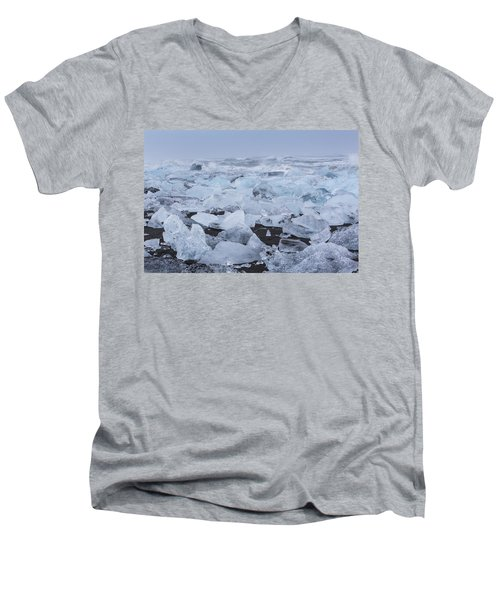 Men's V-Neck T-Shirt featuring the tapestry - textile Glacier Ice by Kathy Adams Clark