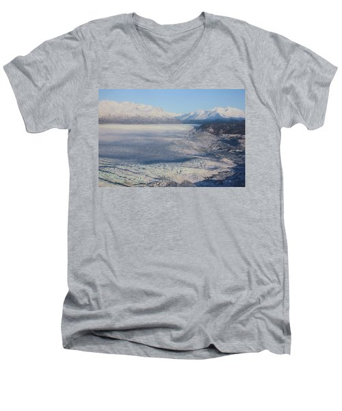 Men's V-Neck T-Shirt featuring the photograph Glacier In Alaska by Jingjits Photography