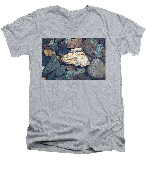 Glacier Park Creek Stones Submerged Men's V-Neck T-Shirt