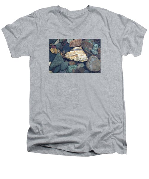 Glacier Park Creek Stones Submerged Men's V-Neck T-Shirt