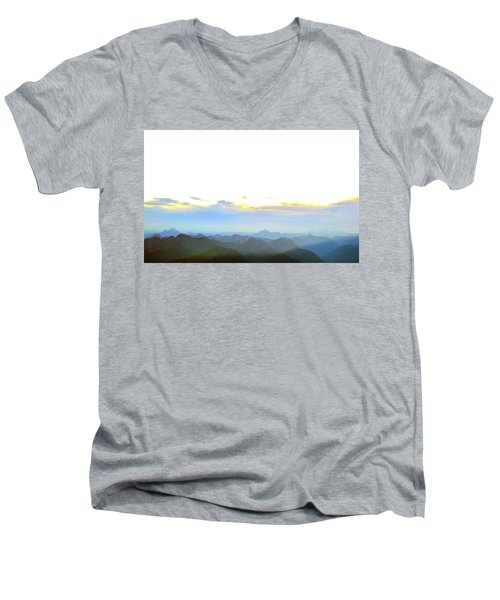 Glacier Peak At Sunrise Men's V-Neck T-Shirt