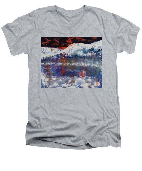 Men's V-Neck T-Shirt featuring the painting Glacier Reflections by Walter Fahmy