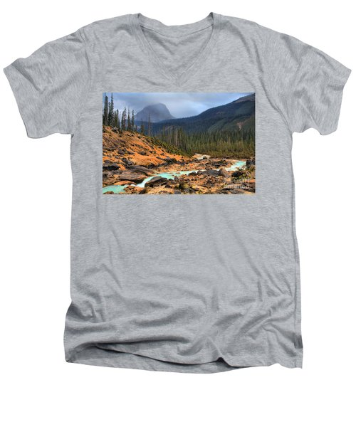 Men's V-Neck T-Shirt featuring the photograph Glacier Waters Flowing Through Yoho National Park by Adam Jewell