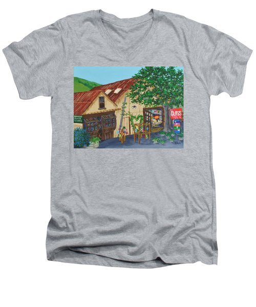 Men's V-Neck T-Shirt featuring the painting Glass Blower Shop Harmony California by Katherine Young-Beck