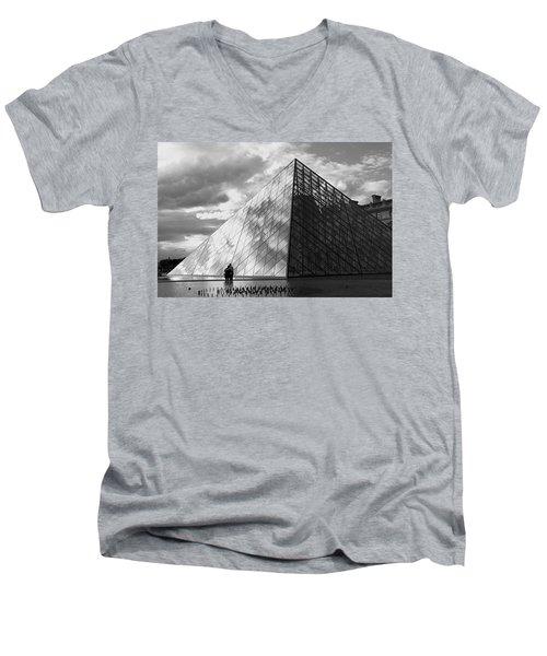 Glass Pyramid. Louvre. Paris.  Men's V-Neck T-Shirt