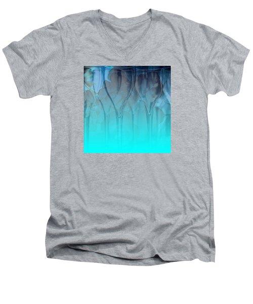 Men's V-Neck T-Shirt featuring the digital art Glasses Floating by Allison Ashton