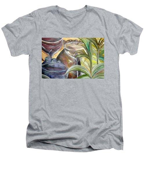 Glasses Grapes And Plants Men's V-Neck T-Shirt