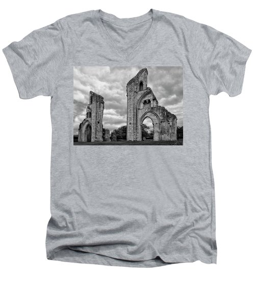 Men's V-Neck T-Shirt featuring the photograph Glastonbury Abbey by Elvira Butler