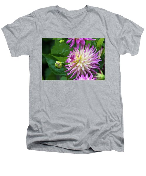 Glenbank Twinkle Dahlia Men's V-Neck T-Shirt by Glenn Franco Simmons
