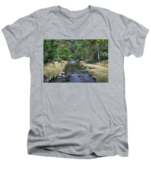 Men's V-Neck T-Shirt featuring the photograph Glendasan River. by Terence Davis