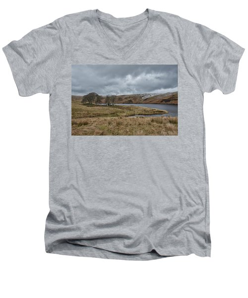 Men's V-Neck T-Shirt featuring the photograph Glendevon Reservoir In Scotland by Jeremy Lavender Photography