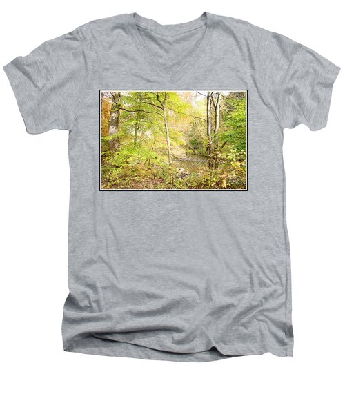 Glimpse Of A Stream In Autumn Men's V-Neck T-Shirt by A Gurmankin