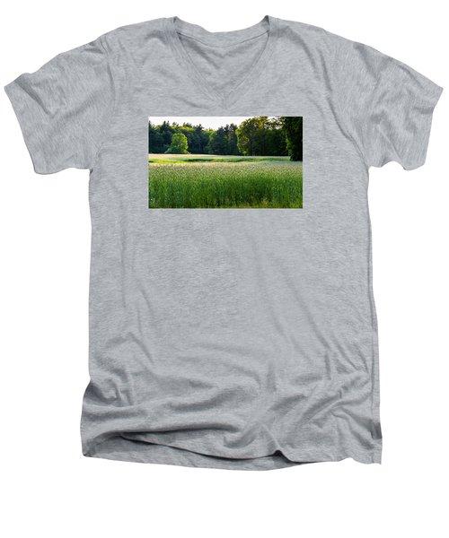 Glistening Green Men's V-Neck T-Shirt