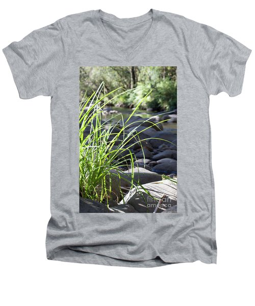 Men's V-Neck T-Shirt featuring the photograph Glistening In The Sunlight by Linda Lees