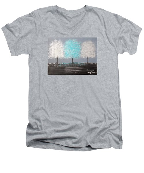 Men's V-Neck T-Shirt featuring the painting Glistening Morning by Stacey Zimmerman