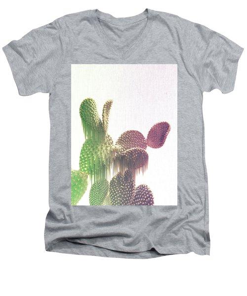 Glitch Cactus Men's V-Neck T-Shirt
