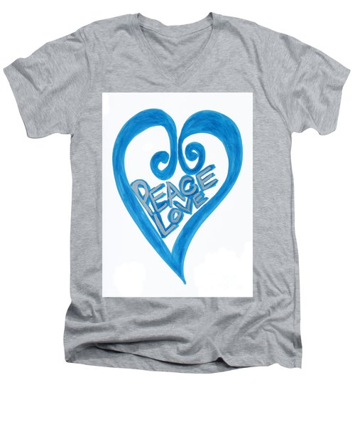 Global Peace And Love Heart Men's V-Neck T-Shirt