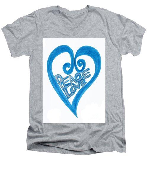 Global Peace And Love Heart Men's V-Neck T-Shirt