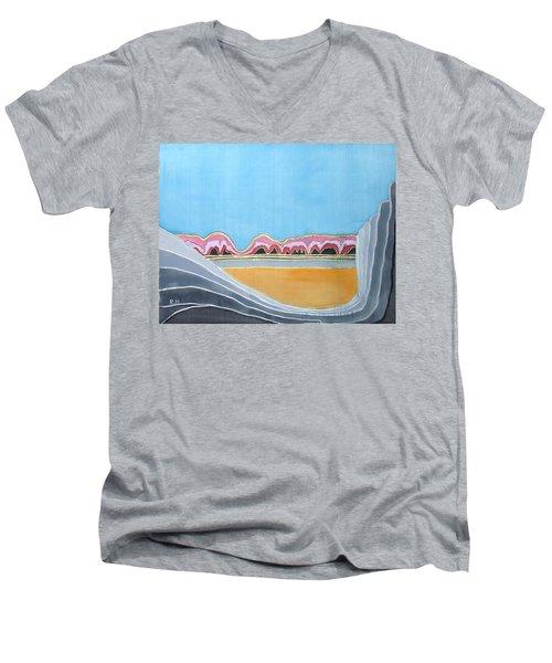 Global Warming Silk Melting Glaciers Valley Or Where Did All My Blue Glaciers Go  Men's V-Neck T-Shirt by Rachel Hershkovitz