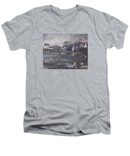 Gloomy And Rainy Day By Hyde Park Men's V-Neck T-Shirt by Ylli Haruni