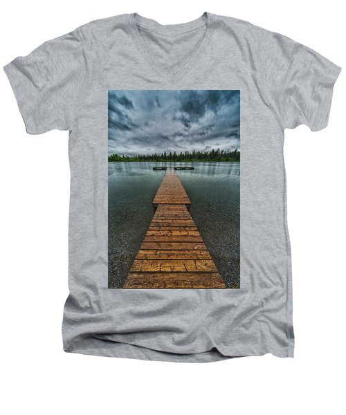 Men's V-Neck T-Shirt featuring the photograph Gloomy Rainy Day On Norbury Lake by Darcy Michaelchuk