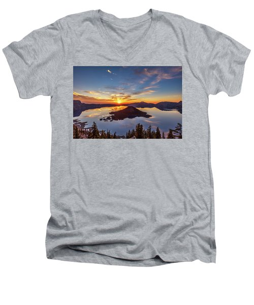 Men's V-Neck T-Shirt featuring the photograph Glorious Crater Lake Sunrise by Pierre Leclerc Photography