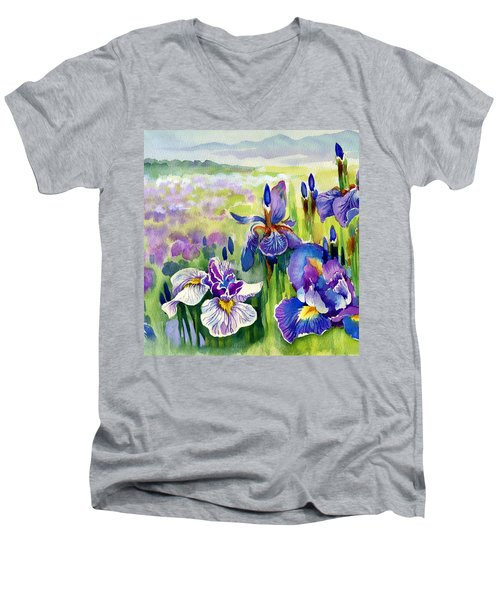 Men's V-Neck T-Shirt featuring the painting Glorious Hand Of God by Karen Showell